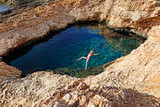 Young woman swim in Pissina of Koufonissi, Greece - 182663702