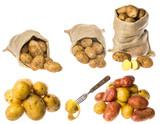 a fresh raw potatoes on a white background - 182663741