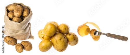 In de dag Verse groenten a fresh raw potatoes on a white background