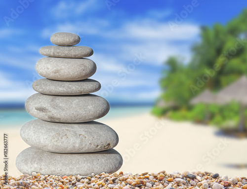 Foto op Canvas Zen Small zen stone with beautiful sand and palm tree beach background for spa and balance symbol