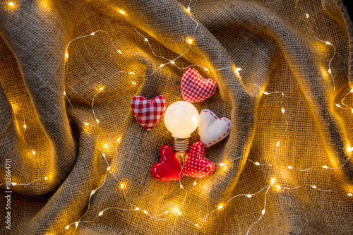 Heart shape gifts and Fairy Lights around