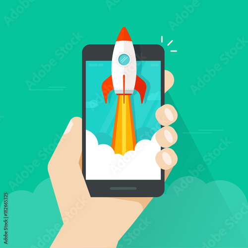 Fototapeta Startup vector concept, flat cartoon style quick rocket launch and mobile phone or smartphone in hand, idea of successful business project start up, boost technology, innovation strategy