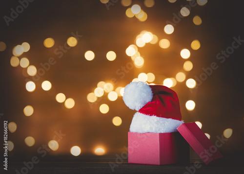 Christmas gift box and Santa Claus hat