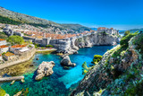 Croatia landscape cityscape Dubrovnik. / Aerial panoramic view at famous european travel destination, Dubrovnik cityscape on Adriatic Coast, Croatia. - 182666531