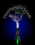 champagne bottle with popping cork and splash against dark blue background, text Happy New Year 2018, motion blur - 182666566
