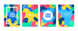 Fototapety Memphis style cover Design Collection. Abstract cover set. vector illustration.