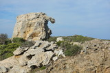 Strange natural rock formation in Cap de Creus natural park, Spain, Costa Brava, Catalonia, Girona, Mediterranean - 182667531