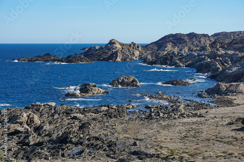 Wild rocky coastline in Cap de Creus natural park, Mediterranean sea, Spain, Costa Brava, Catalonia, Girona