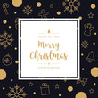 christmas icon elements card greeting text border frame golden black background