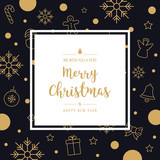 christmas icon elements card greeting text border frame golden black background - 182667976