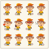 Set of monkey little boy in cartoon style. Collection of isolated monkey in clothes and cap. - 182668318