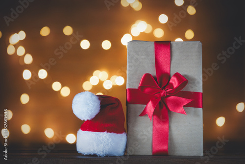 Christmas gift box and Santa Claus hat