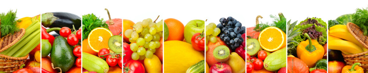 Panoramic collection fruits and vegetables isolated on white background. Wide photo with free space for text.