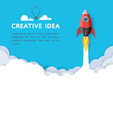 Creative Idea  Rocket Ship Iconbusiness Start Up Concept Paper Art Style Design Illustration Wall Sticker