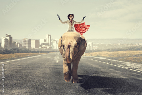 Businesswoman riding elephant . Mixed media Poster