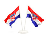 Two waving flags of croatia - 182674368
