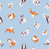 Vector  illustration with cute hand drawn dogs. Seamless pet  pattern. Trendy scandinavian design.  - 182675776