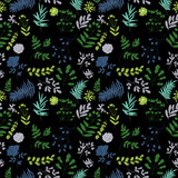 seamless pattern of blue and green plants on a black background