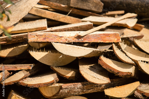 Deurstickers Brandhout textuur firewood on construction site as an abstract background