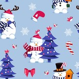 Winter seamless pattern with  cute snowmen and christmas tree.  Merry Christmas and Happy New Year background. Vector illustration
