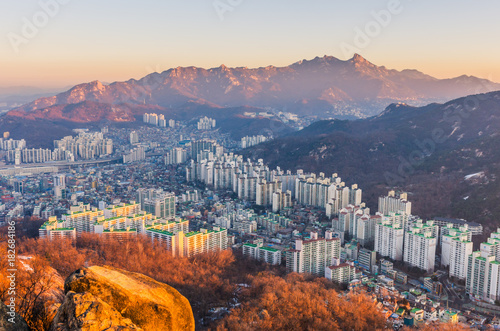 Tuinposter Seoel Sunrise of Seoul City Skyline, South Korea