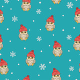 Seamless winter pattern with cute owls and snowflakes. Vector childish background.