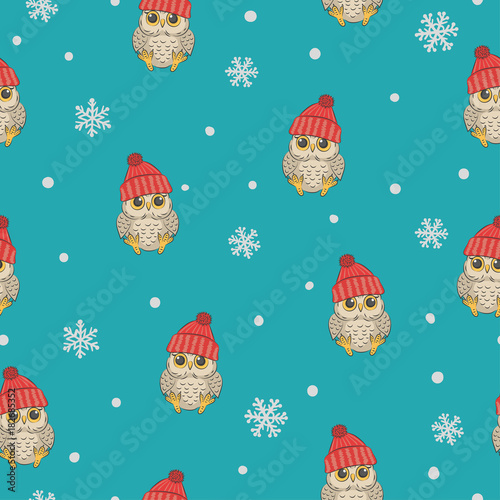 Foto op Canvas Uilen cartoon Seamless winter pattern with cute owls and snowflakes. Vector childish background.