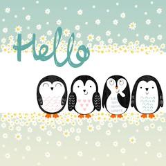 Vector card with cute cartoon penguins. Hello