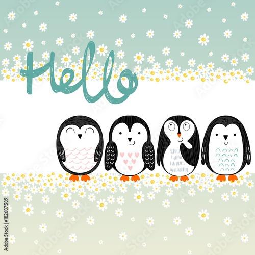 Fototapeta Vector card with cute cartoon penguins. Hello