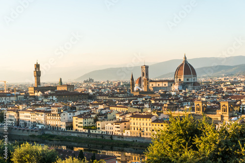 Tuinposter Florence Florence, ITALY - October, 2017: Beautiful cityscape skyline of Firenze, Italy, with the bridges over the river Arno