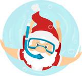 Santa Swim Snorkel Illustration - 182692357