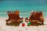 Two beach chairs on tropical vacation - 182692706