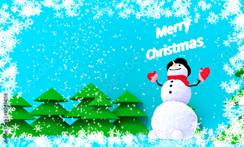 Fotobehang Turkoois Greeting card with a snowman on a winter background with Christmas trees and snow. Christmas Card.