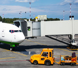 The aircraft and ramp for boarding passengers