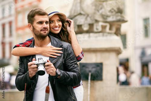 Beautiful Couple Taking Photos On Camera, Traveling