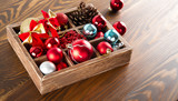 Wooden box with colorful ball for christmas decoration