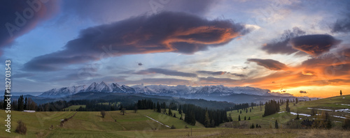 A beautiful sunset over the mountains after the hurricane,High Tatras,Poland