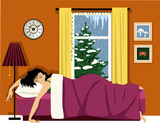 Happy woman sleeping in a cozy room, winter landscape behind the window, EPS 8 vector illustration - 182705310