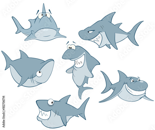 Papiers peints Chambre bébé Set of Cute Sharks for you Design. Cartoon Character