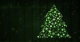 Snowflake Christmas tree pattern shape glowing green - 182706903