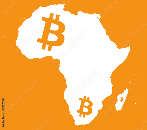 Fototapeta Africa continent map with bitcoin crypto currency symbol illustration