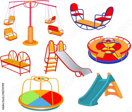 Papiers peints Chambre bébé Set of Cartoon Illustration. A Children's Swings