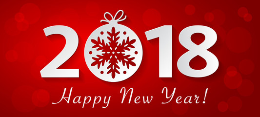 2018 Happy New Year design with white christmas ball with snowflake.