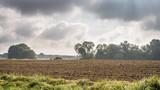 Ein Bauer pflügt sein Feld