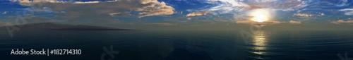 beautiful sea sunset, panorama of the ocean sunrise, sun over the water, banner