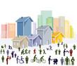 Platz in der Stadt mit Fußgänger Illustration - 182716176