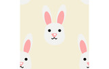 Cute white rabbit seamless pattern vector.