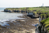 Flamborough, Yorkshire, UK. Flamborough Head, viewed from the north. - 182718307