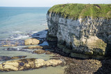 Flamborough, Yorkshire, UK. Chalk sea cliffs to the north of Flamborough Head. - 182718581