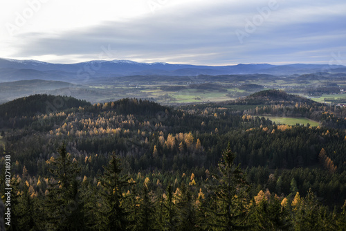 Fotobehang Zwart Autumn mountain forest landscape. Giant Mountains, Poland